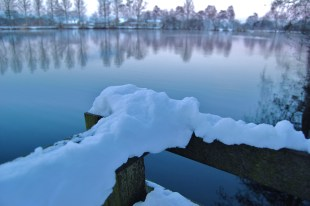 Snow on a lake