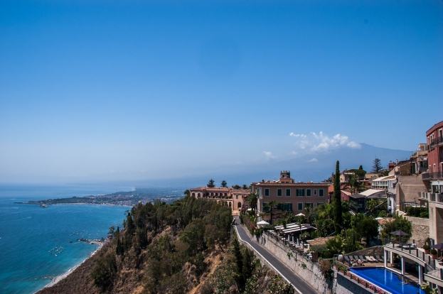 Taormina, Sicily, with Mt. Etna in the background