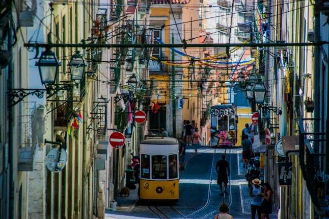 Trams climbing up the hill - Lisbon
