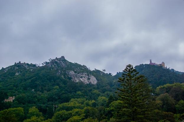 View on Castelo dos Mouros and Pena Palace, Quinta da Regaleira - Sintra